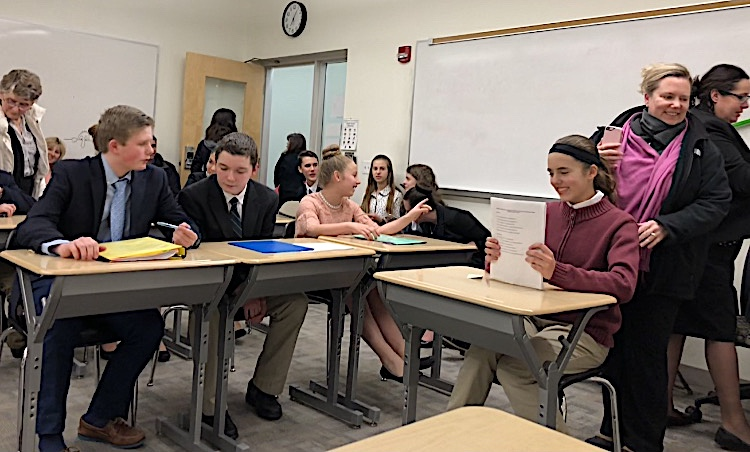 Students participating in the mock trial at Kingswood Oxford School in West Hartford.