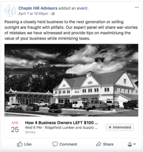 The Facebook event page for 'How 4 Business Owners LEFT $100 Million on the Table'