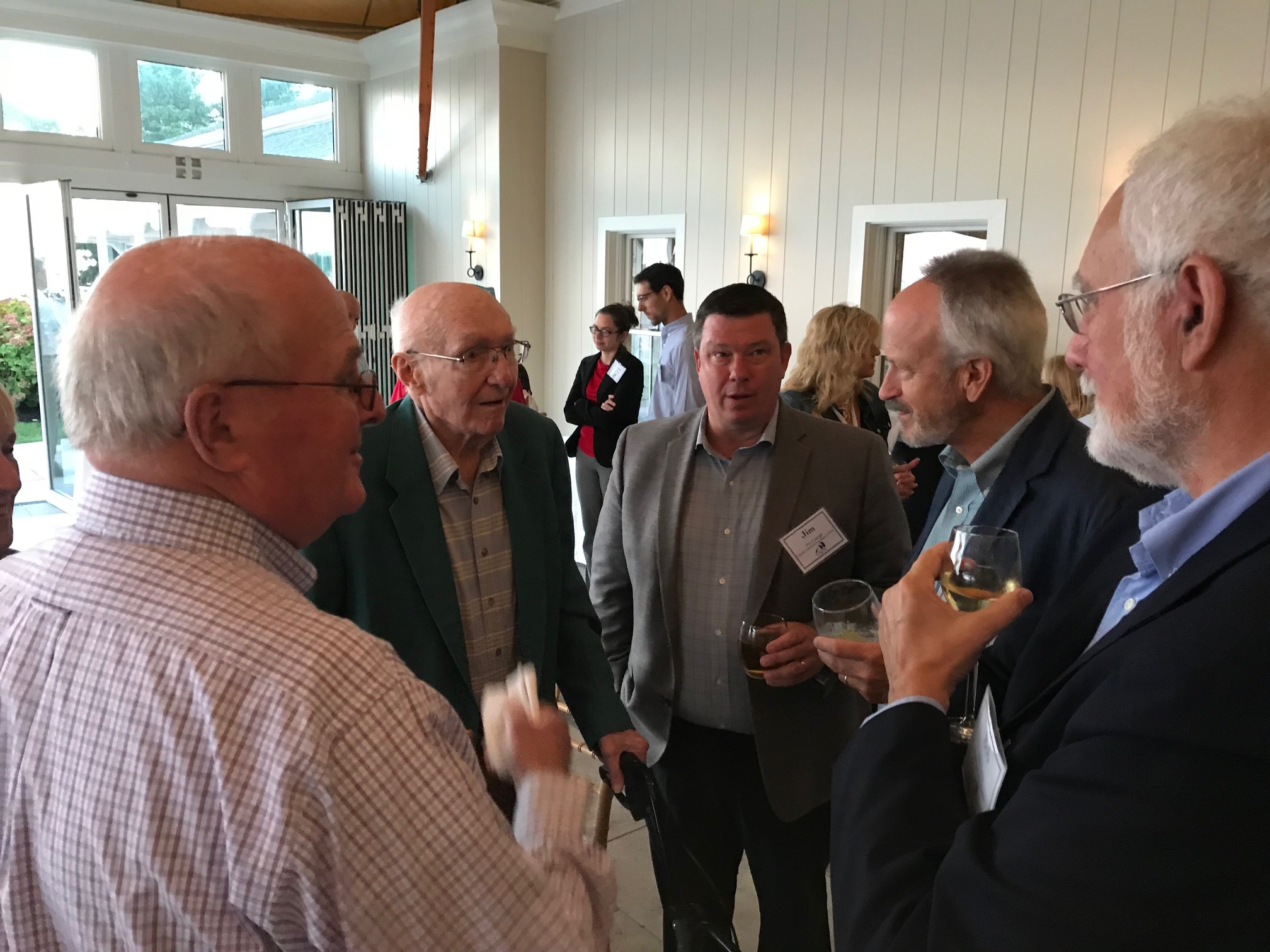From left, Len Jacobs, Hank Anderson, Jim Czapiga, Peter Ebersol, and Bob Carey at the CATIC dinner on Cape Cod.