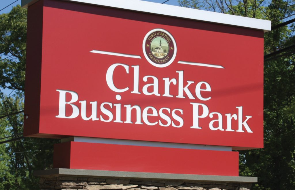 A screenshot of the Clarke Business Park sign from the Town of Bethel website.