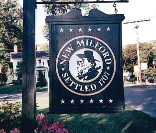 The New Milford sign on the Town Green.