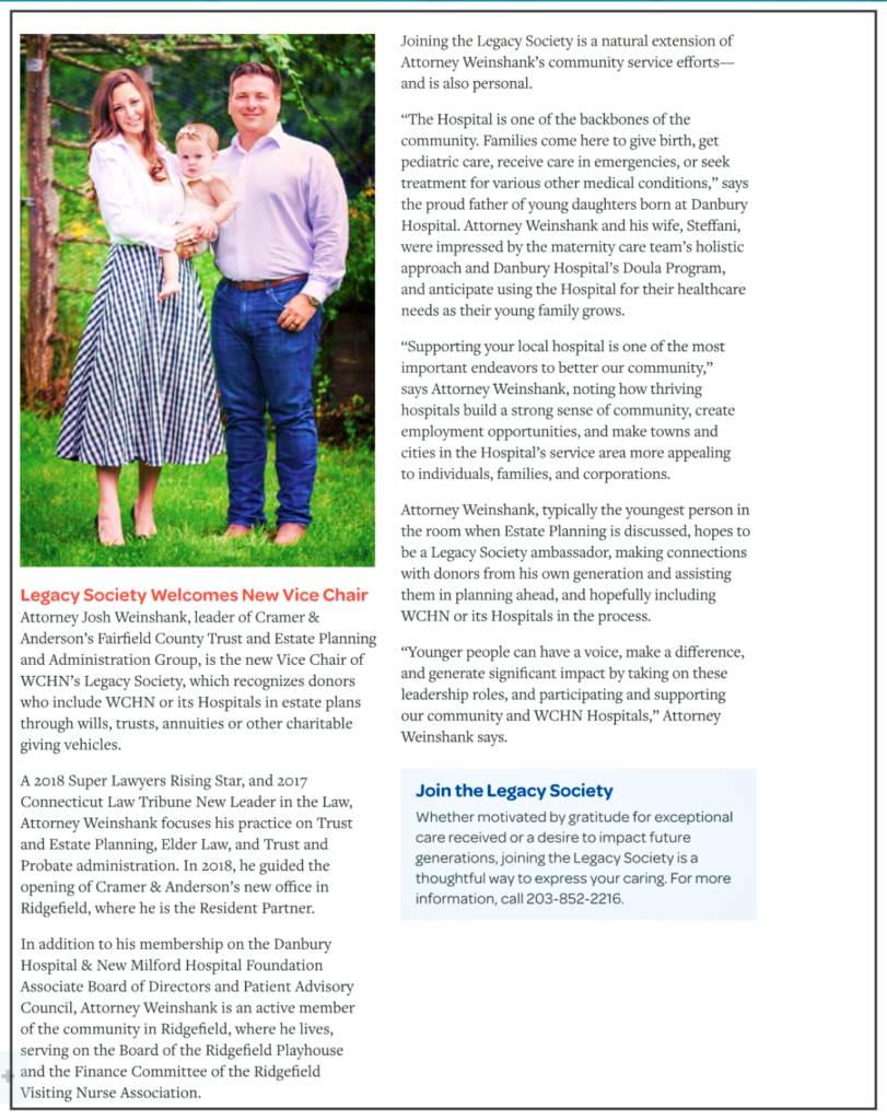 The Catalyst Magazine story on Josh Weinshank's appointment to the Legacy Society. Click the image to read the story.