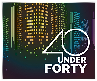 The Fairfield County Business Journal 40 Under 40 logo.