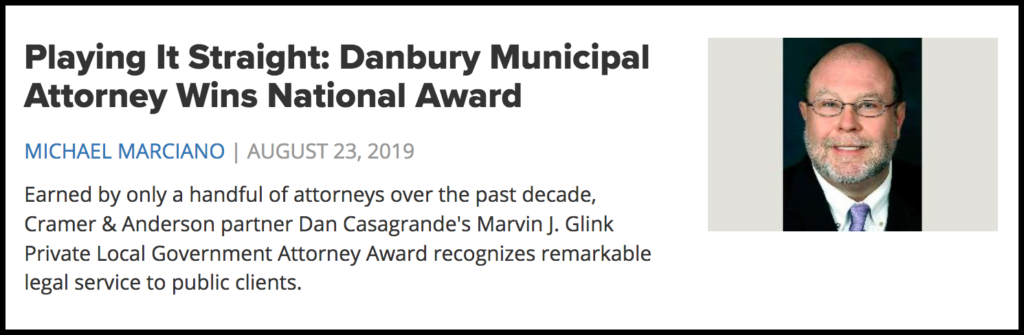 A screenshot of the story on Cramer & Anderson Attorney Dan Casagrande's Glink Award from the Connecticut Law Tribune website.