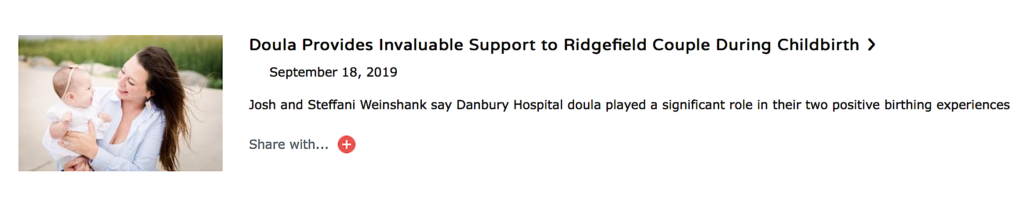 Cramer & Anderson Partner Josh Weinshank and his wife Steffani support and used the doula program at Danbury Hospital