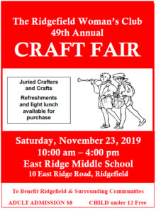 A poster for the 2019 Ridgefield Woman's Club craft fair, being held Nov. 23 at East Ridge Middle School. The Club and Attorney Jennifer Collins' Lion's Heart teen group worked together to make comfort pillows for breast cancer patients.