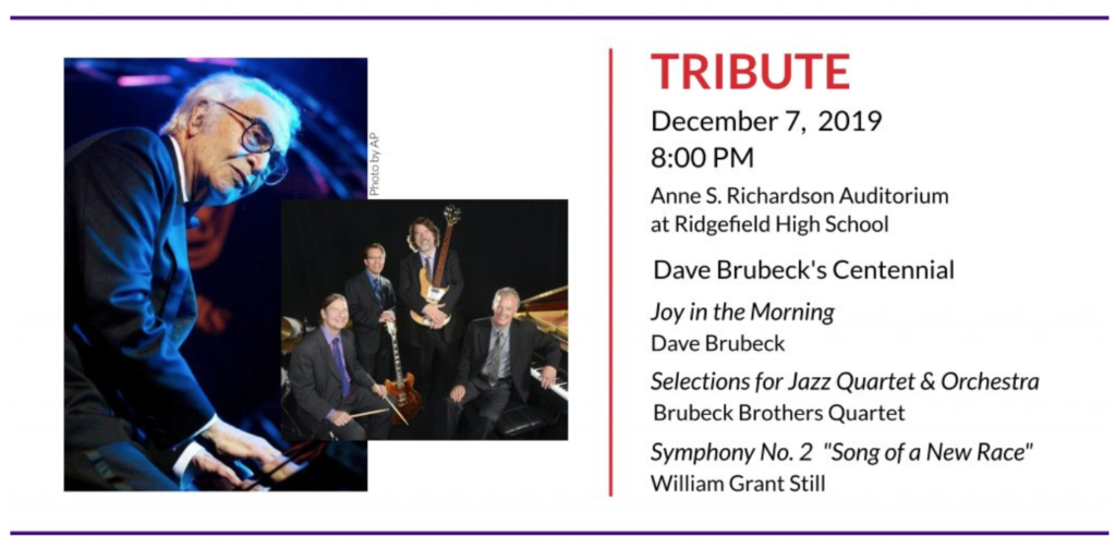 Ridgefield Symphony Orchestra announcement of Dave Brubeck tribute.