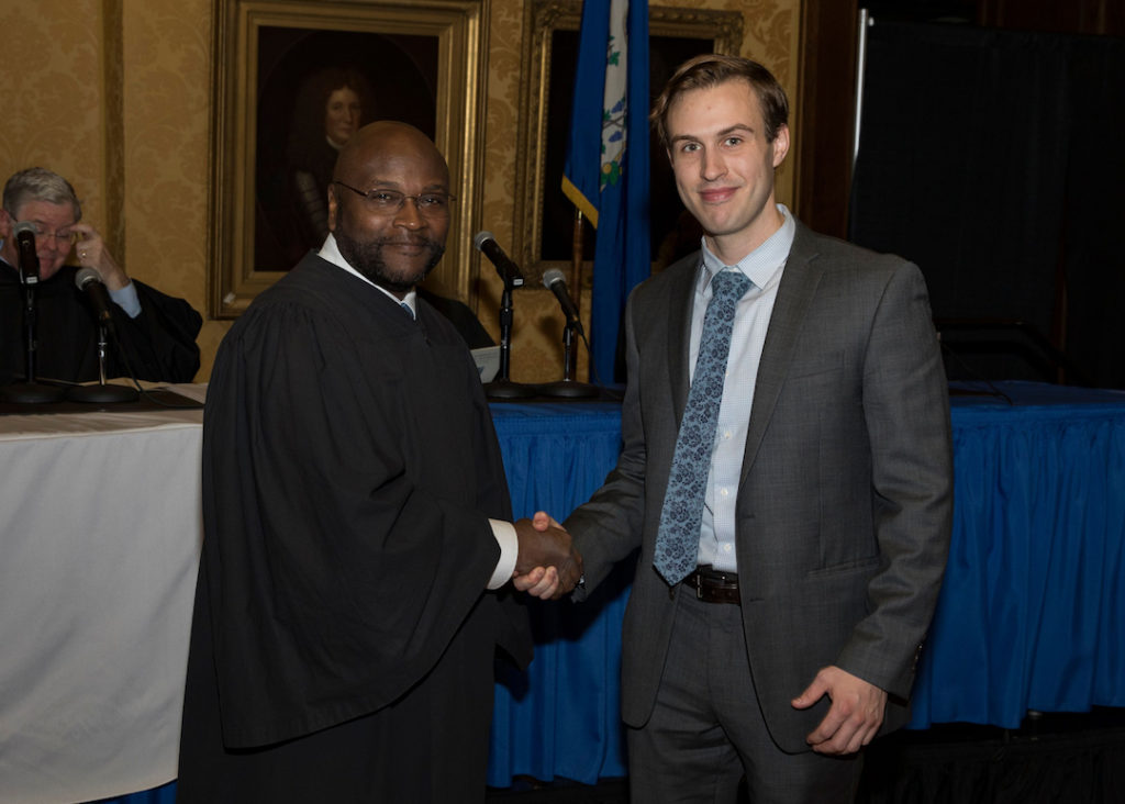 Cramer & Anderson Associate Steen Kadison, right, with Connecticut Supreme Court Chief Justice Richard Robinson at the Nov. 1 swearing-in ceremony.