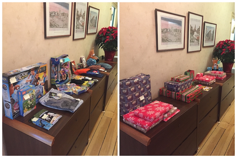 Photos of Cramer & Anderson 2019 New Milford Social Services Santa Funds gifts.