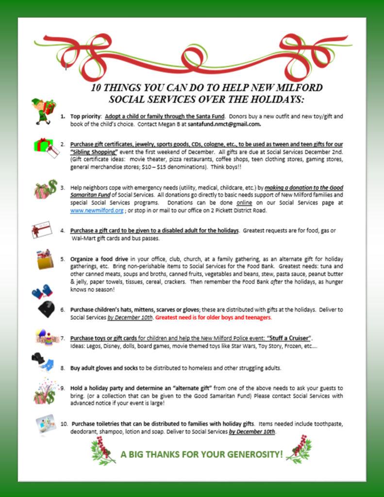 New Milford Social Services' Santa Fund flier.