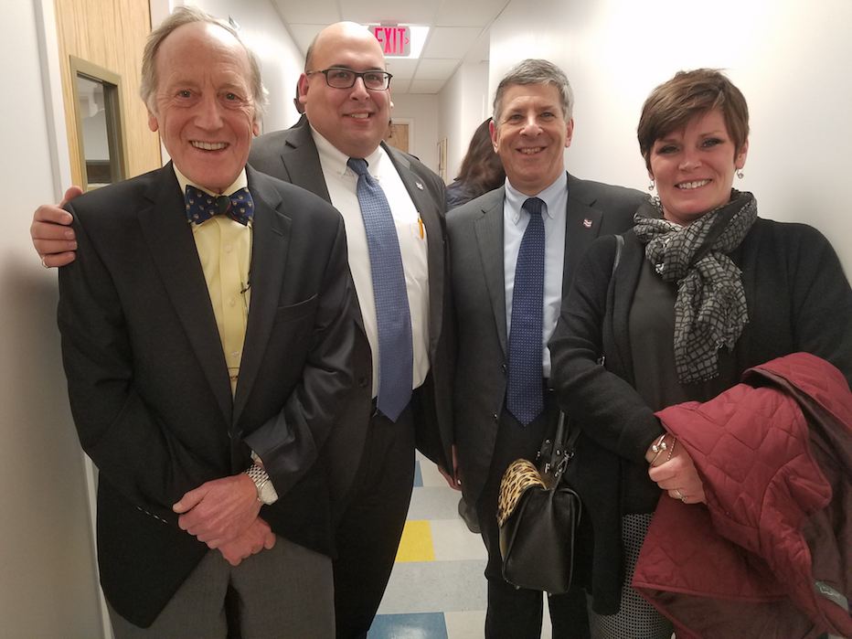 From left, Cramer & Anderson Partner Kim Nolan with Newtown Savings Bank's Vinny DiGilio, Vice President/Commercial Loan Officer, Bank President and CEO Kenneth Weinstein, and Mary Jascha, First Vice President/Senior Commercial Lending Officer.