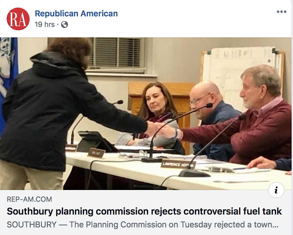 The Waterbury Repubican's Facebook post for a story on Southbury officials denying a fuel tank plan after Cramer & Anderson Partner Dan Casagrande cited the Black Swan effect.
