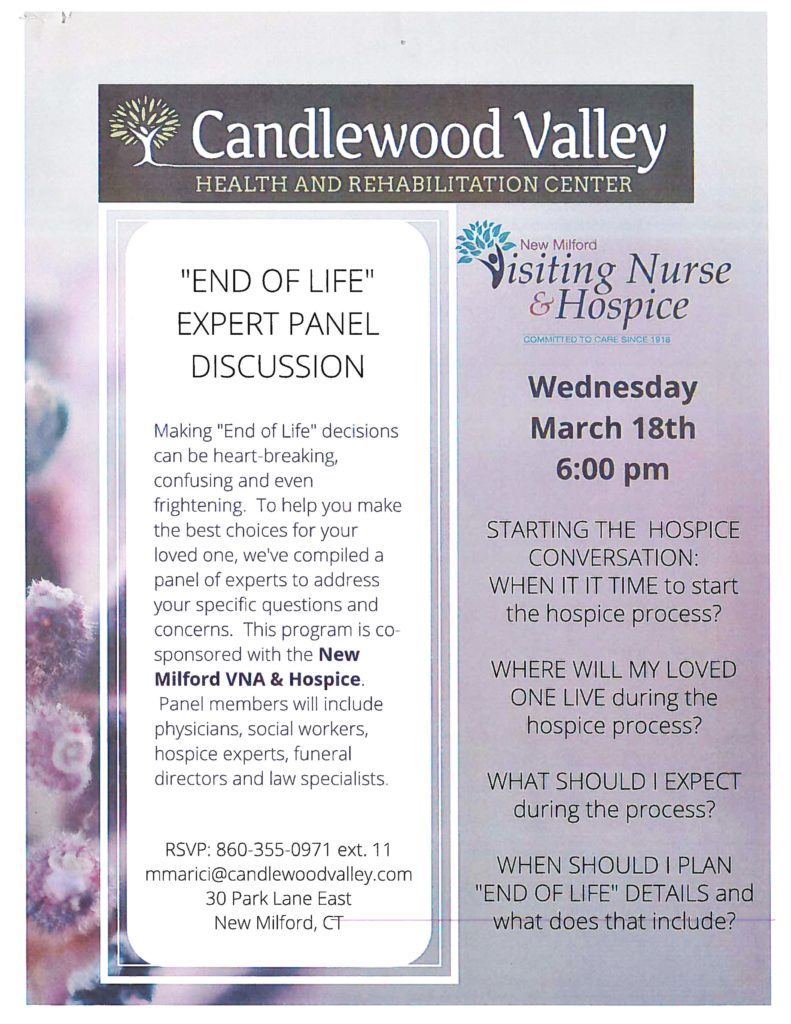 The flier for Cramer & Anderson's participation in a New Milford VNA & Hospice End of Life Panel discussion.