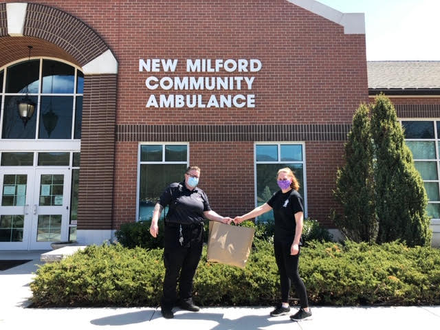 Cramer & Anderson is thanking New Milford Community Ambulance first responders for their heroic efforts on the front line of the COVID-19 coronavirus pandemic by sending corps members meals from Jo Jo's Deli & Catering.